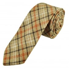 Knightsbridge Beige, Brown & Orange Checked Patterned 100% Wool Tweed Tie