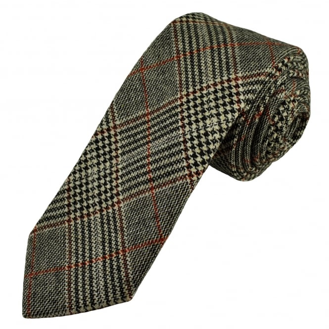 Knightsbridge Black, Beige & Red Checked Patterned 100% Wool Tweed Tie