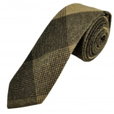 Knightsbridge Brown & Beige Checked Patterned 100% Wool Tweed Tie