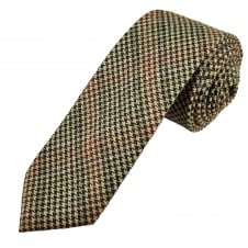 Knightsbridge Brown, Beige, Red & Pink Houndstooth Checked 100% Wool Tweed Tie