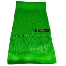 Knightsbridge Green & White Polka Dot Men's Aviator Silk Scarf