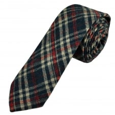Knightsbridge Navy Blue, Red & Beige Checked Patterned 100% Wool Tweed Tie