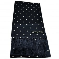 Knightsbridge Navy Blue & White Polka Dot Men's Aviator Silk Scarf