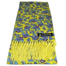 Knightsbridge Yellow, Blue & Red Paisley Patterned Men's Aviator Silk Scarf