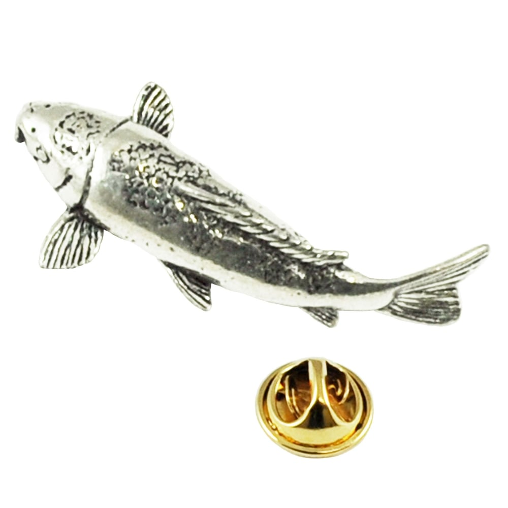 Koi Carp Fish Pewter Lapel Pin Badge