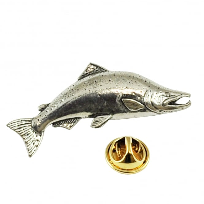 Large Salmon Fish Pewter Lapel Pin Badge