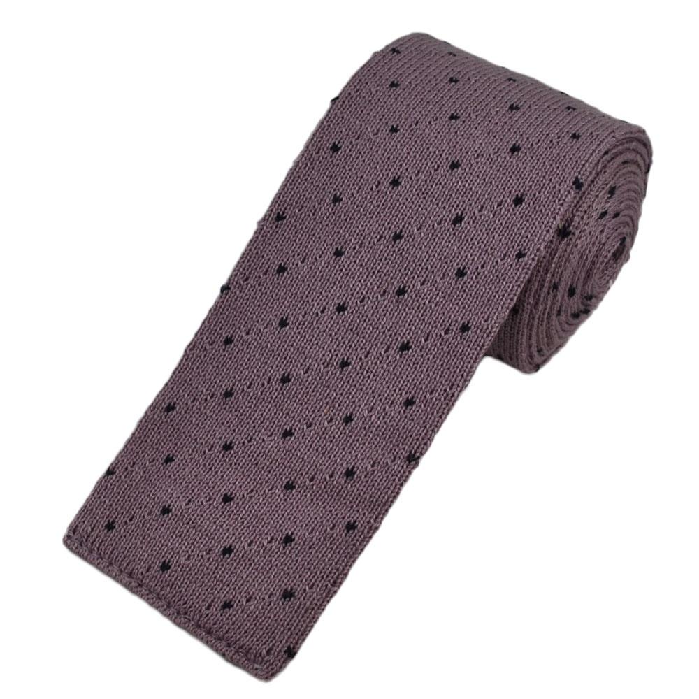 lavender black polka dot knitted tie from ties