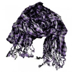 Lavender, Black & Silver White with Silver Lurex Ruched Checked Scarf