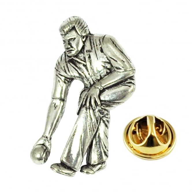 Lawn Bowls Player Bowling Pewter Lapel Pin Badge