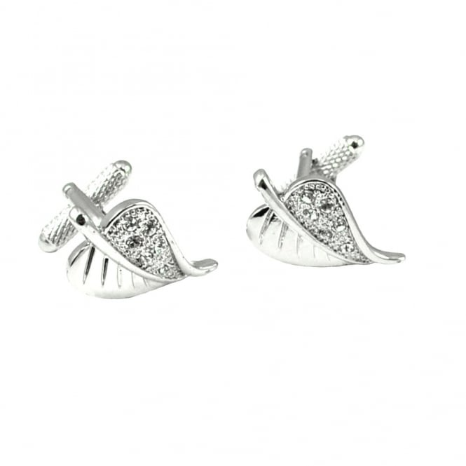 Leaf Crystal Cufflinks