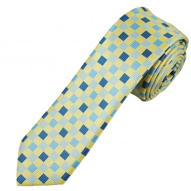 Lemon Yellow, Silver & Blue Square Patterned Men's Skinny Tie