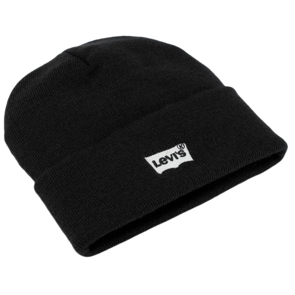 Levi s Black Batwing Embroidered Logo Beanie Hat from Ties Planet UK 0f6a13c12ca