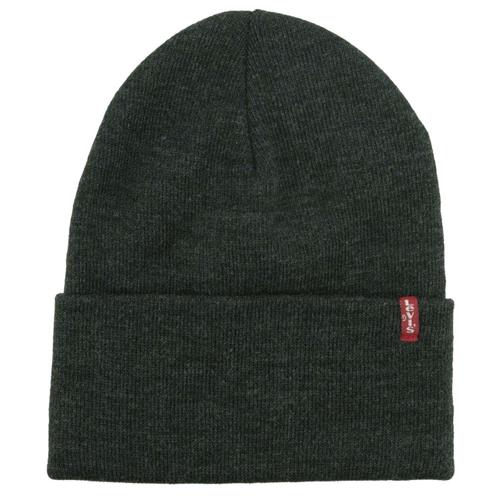 828ec2d634b877 Levi's Dark Grey Slouchy Red Tab Beanie Hat from Ties Planet UK
