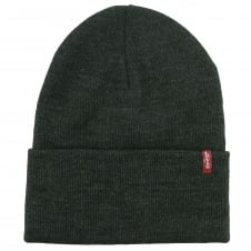 Levi's Dark Grey Slouchy Red Tab Beanie Hat