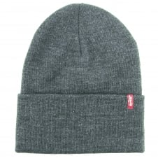 Levi's Grey Slouchy Red Tab Beanie Hat