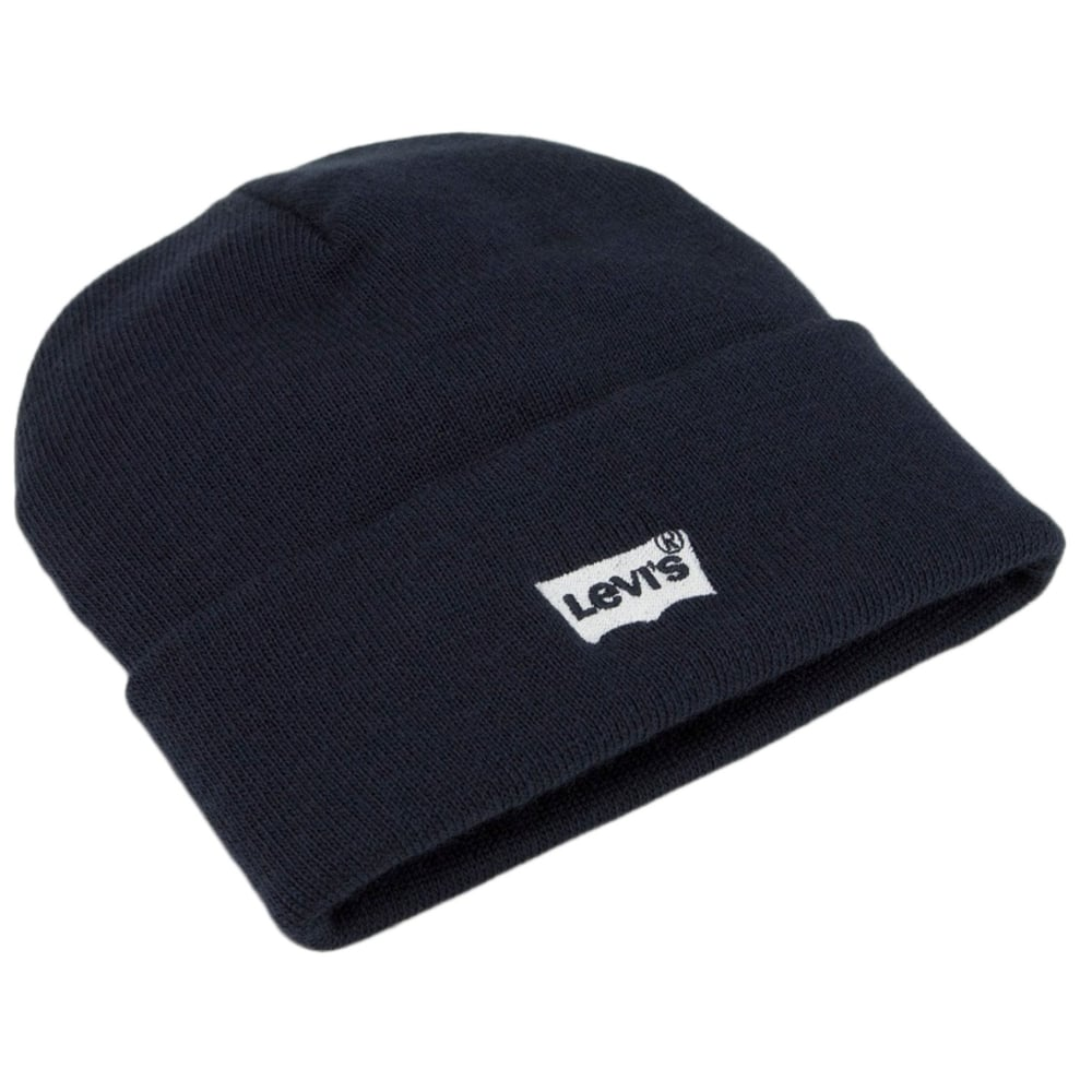 112fbd029 Levi's Navy Blue Batwing Embroidered Logo Beanie Hat