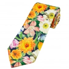 Liberty Orange, Cream, Mauve & Light Blue Flower Pattern Men's Cotton Designer Tie