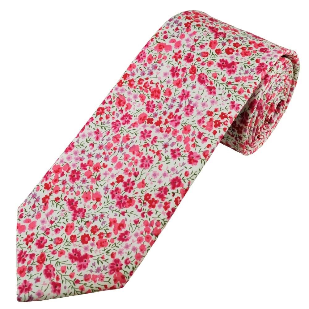 Liberty Pink Flower Patterned Men S Designer Tie From Ties