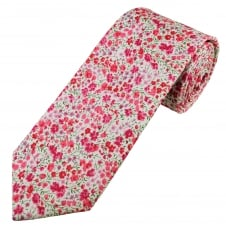Liberty Pink Flower Patterned Men's Designer Tie