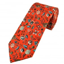 Liberty Red Floral Patterned Men's Cotton Designer Tie