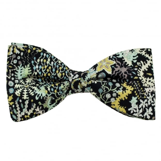 Liberty Van Buck Black Aquatic Flowers, Flora, Shells & Animals Patterned Men's Designer Bow Tie
