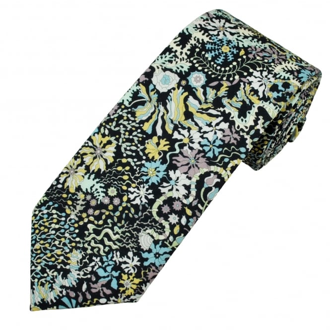 Liberty Van Buck Black Aquatic Flowers, Flora, Shells & Animals Patterned Men's Designer Tie