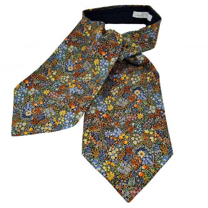 Liberty Van Buck Black, Orange, Blue Flowers & Berries Floral Pattern Casual Day Cravat