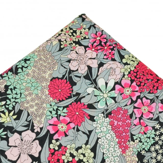Liberty Van Buck Black, Pink, White, Grey, Yellow & Green Flower Patterned Designer Pocket Square Handkerchief