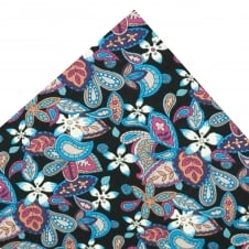 Liberty Van Buck Black with Shades of Blue, Pink & Purple Floral Pattern Designer Pocket Square Handkerchief