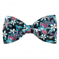 Liberty Van Buck Black with Shades of Blue, Pink & Purple Floral Pattern Men's Bow Tie