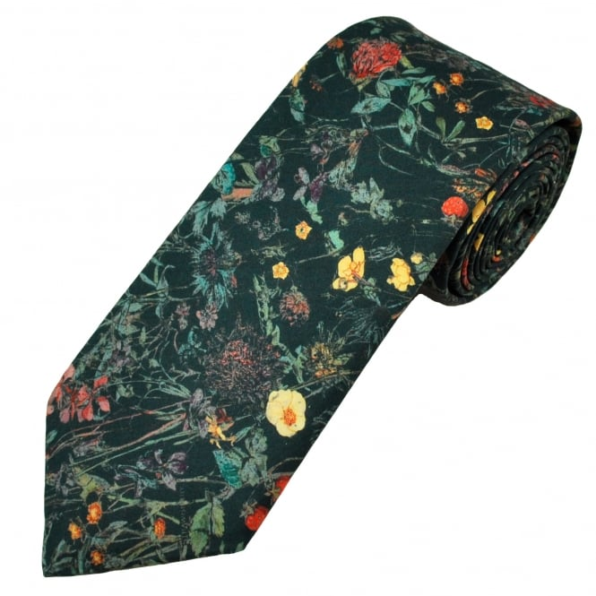 Liberty Van Buck Black Woodland Flowers & Strawberries Pattern Men's Designer Tie