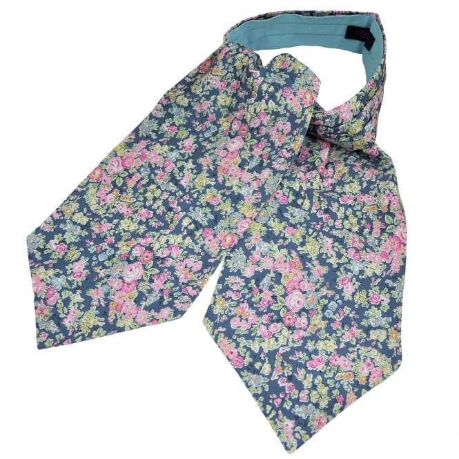 Liberty Van Buck Blue, Pink, Yellow & Green Flower Patterned Casual Day Cravat