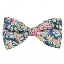 Liberty Van Buck Blue, Pink, Yellow & Green Flower Patterned Designer Bow Tie