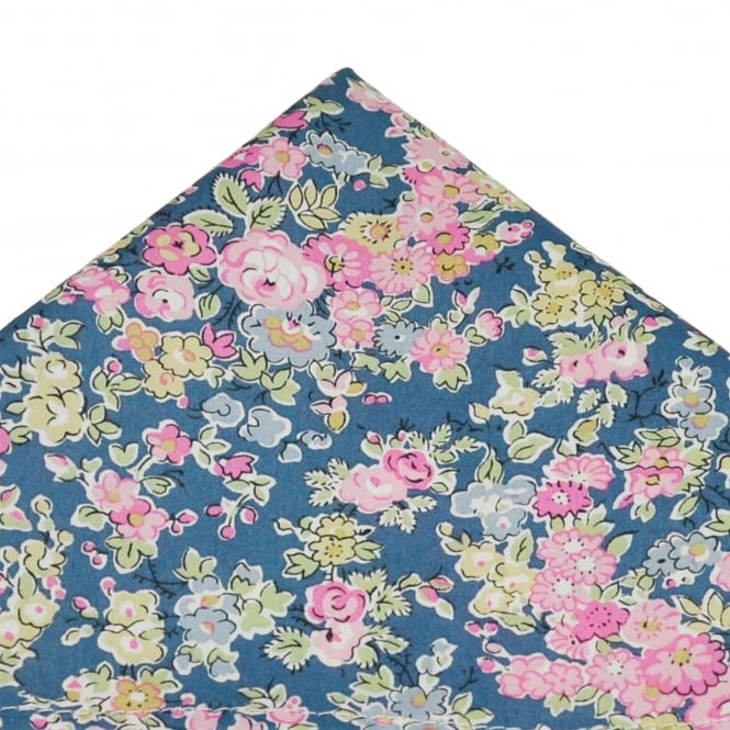 Liberty Van Buck Blue, Pink, Yellow & Green Flower Patterned Designer Pocket Square Handkerchief