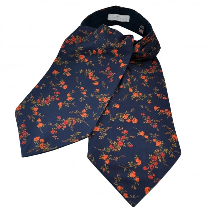 Liberty Van Buck Indigo Blue & Coral Flower Patterned Casual Day Cravat