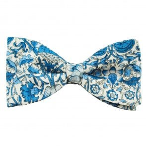 1a20926c76e9 Liberty Van Buck Linen Ivory & Blue Floral Pattern Men's Designer Bow Tie