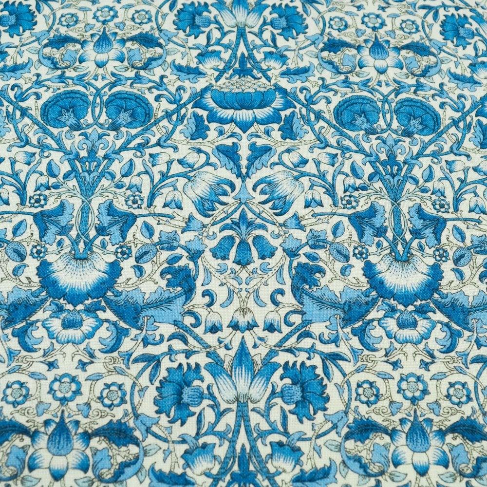 cc4cecc8fc66 Liberty Van Buck Linen Ivory & Blue Floral Pattern Pocket Square  Handkerchief