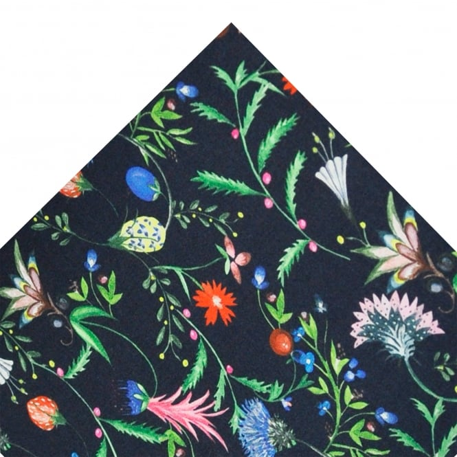 Liberty Van Buck Navy Blue Plants, Fruit & Flowers Designer Pocket Square Handkerchief