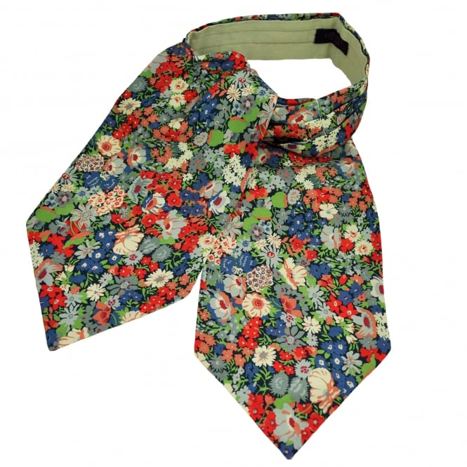Liberty Van Buck Navy, Blue, Red & Green Flower Patterned Casual Day Cravat