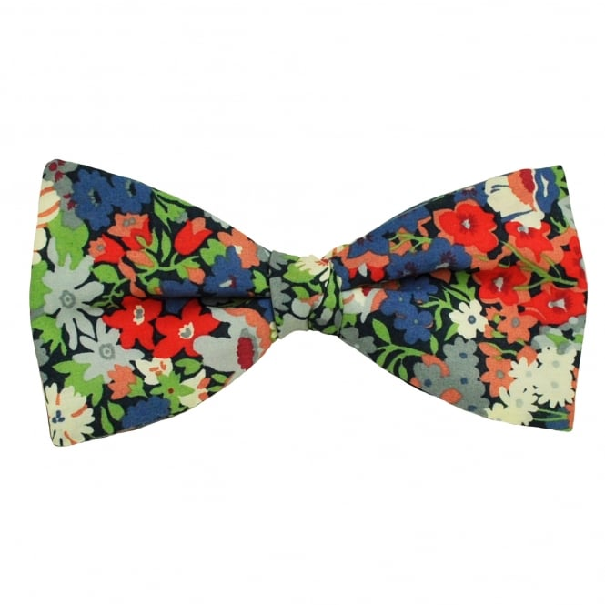 Liberty Van Buck Navy, Blue, Red & Green Flower Patterned Designer Bow Tie