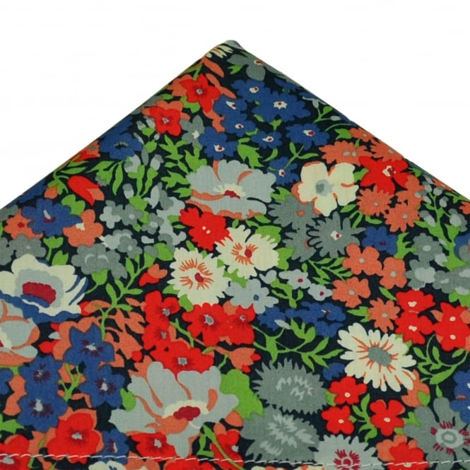 Liberty Van Buck Navy, Blue, Red & Green Flower Patterned Designer Pocket Square Handkerchief