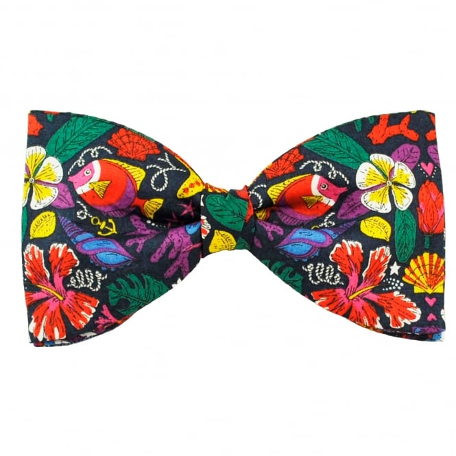 Liberty Van Buck Navy Blue Sea life, fish & Turtles Designer Men's Bow Tie