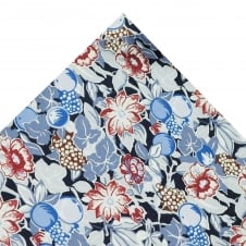 Liberty Van Buck Navy, Light Blue & Red Leaves & Flowers Design Pocket Square Handkerchief