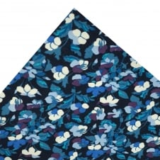 Liberty Van Buck Navy with Shades of Blue & Purple Floral Pattern Pocket Square Handkerchief