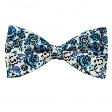 Liberty Van Buck Palace Garden White & Shades Blue Flower Patterned Designer Bow Tie