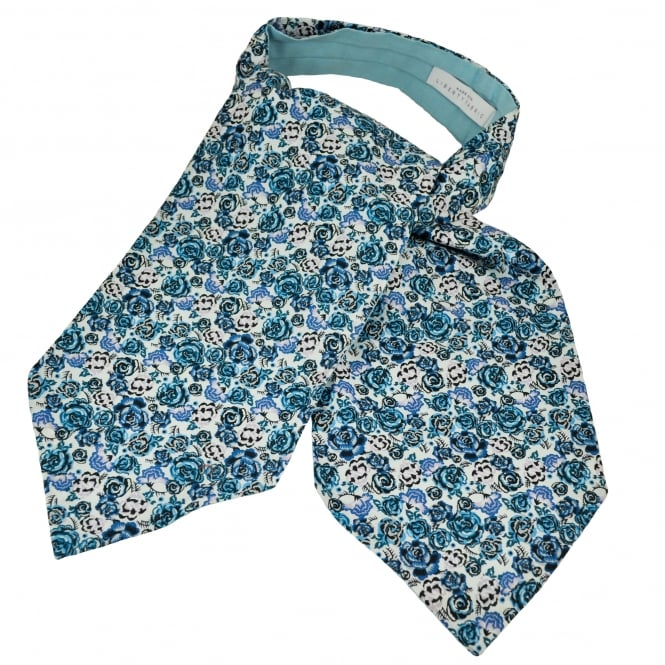 Liberty Van Buck Palace Garden White & Shades of Blue Flower Patterned Casual Day Cravat