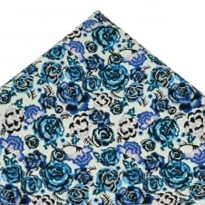 Liberty Van Buck Palace Garden White & Shades of Blue Flower Patterned Designer Pocket Square Handkerchief