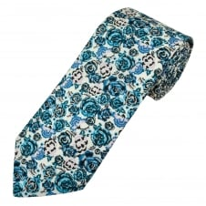 Liberty Van Buck Palace Garden White & Shades of Blue Flower Patterned Designer Tie