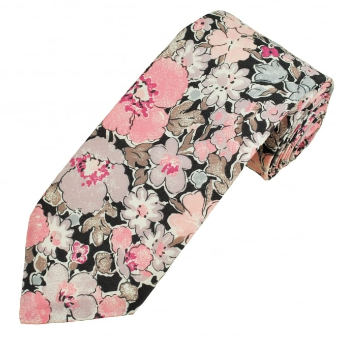 Liberty Van Buck Platinum Black, Pastel Pink, Grey & Brown Flower Patterned Designer Tie
