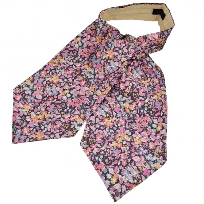 Liberty Van Buck Purple, Shades of Pink & Orange Flower Patterned Casual Day Cravat